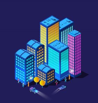 Nocne inteligentne samochody miejskie reflektory 3d przyszły neon ultrafioletowy zestaw izometrycznych budynków infrastruktury miejskiej.