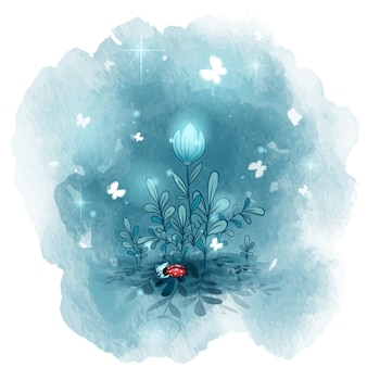 Nocne kwiaty, pod którymi śpi mała biedronka. dobranoc pocztówki.