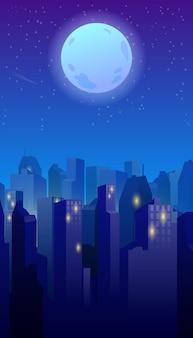 Nocne miasto kreskówka tło gry