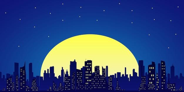 Nocne miasto z drapaczami chmur na tle gwiaździstego nieba. księżyc w pełni i gwiaździste niebo ilustracja sylwetka miasta i katedry.