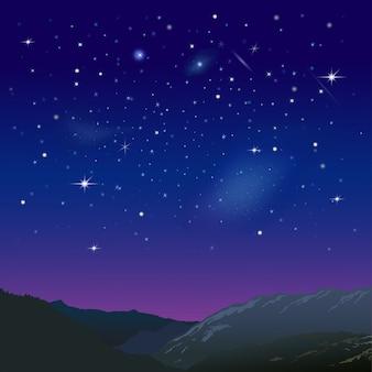 Nocne niebo gwiaździste nad górami. ilustracja