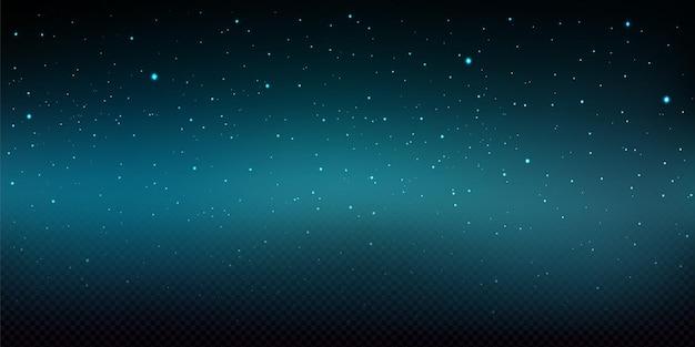 Nocne niebo ilustracja z błyszczącymi gwiazdami i opadami śniegu na białym tle