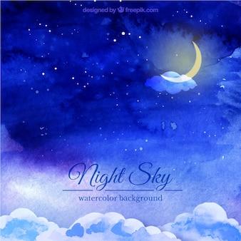 Nocne niebo tła akwarela