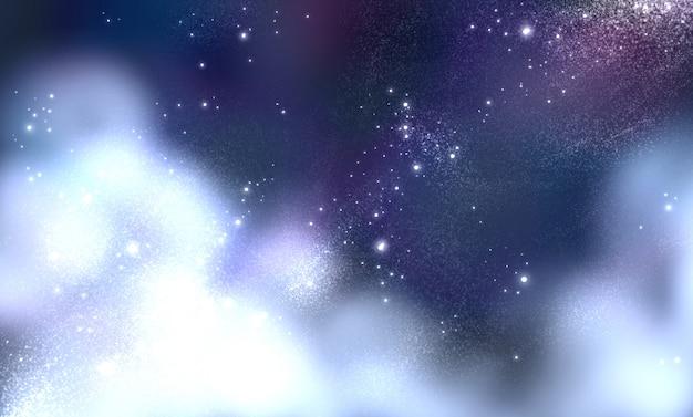 Nocne niebo z chmurami, gwiazdami i galaktyką
