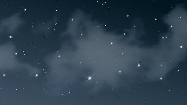 Nocne niebo z chmurami i wieloma gwiazdami. streszczenie tło natura z gwiezdnego pyłu w głębokim wszechświecie. ilustracja wektorowa.