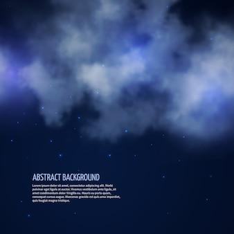 Nocne niebo z gwiazdami i chmurami streszczenie tło. bezksiężycowa przestrzeń, ilustracji wektorowych