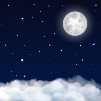 Nocne niebo z księżycem, gwiazdami i chmurami