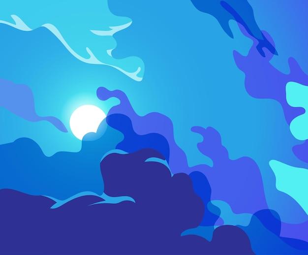 Nocne niebo z księżycem w pełni przeświecającym przez chmury