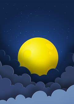 Nocne niebo z księżycem w pełni