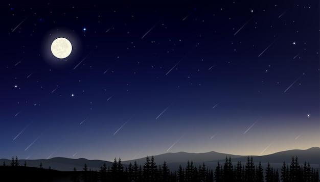 Nocne niebo z pełnią księżyca ze świecącymi gwiazdami i spadającą kometą