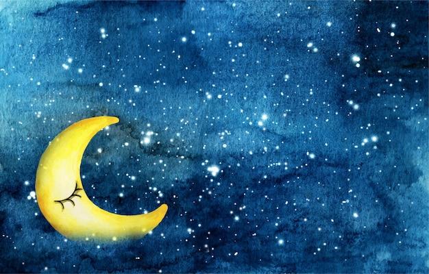 Nocne niebo z twarzą półksiężyca i gwiazdami na akwareli.