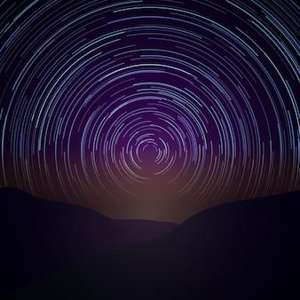 Nocne niebo ze śladami gwiazd. droga mleczna wektor. astronomia czas, ilustracja przyrody piękna