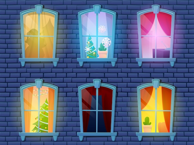 Nocne okna dom zamek z dekoracją świąteczną nowego roku