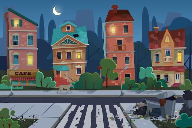 Nocne stare miasto ze śmieciami i brudną okolicą