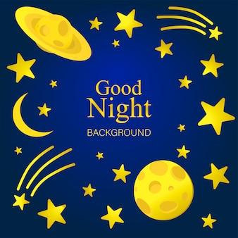 Nocne tło, saturn, księżyc, kometa i świecące gwiazdy na ciemnym niebieskim niebie
