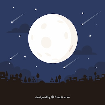 Nocne tło z księżyca i deszcz meteorytów