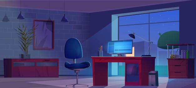 Nocne wnętrze ciemnego pokoju domowego biura dla freelance'a