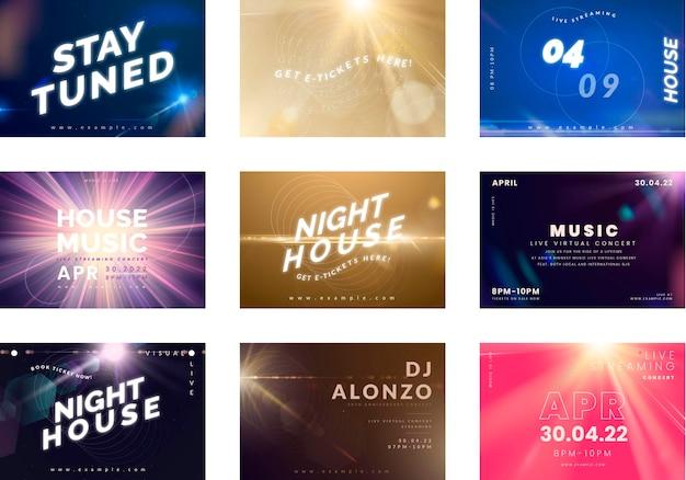 Nocne wydarzenie, zestaw szablonów poziomych plakatów koncertowych