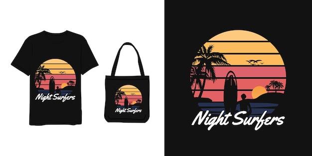 Nocni surferzy, koszulka i torba projektują niebieski żółty pomarańczowy nowoczesny prosty styl