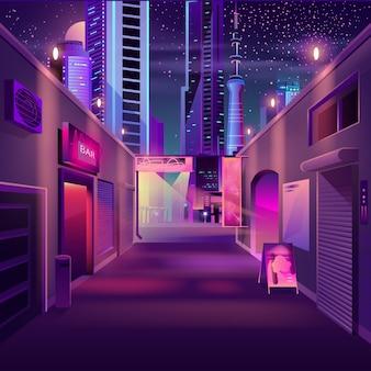 Nocny bar w kreskówce nowoczesnej metropolii