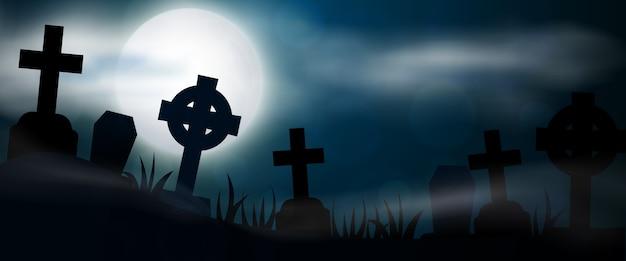 Nocny cmentarz, krzyże, nagrobki i groby poziomy baner. kolorowa straszna ilustracja halloween.