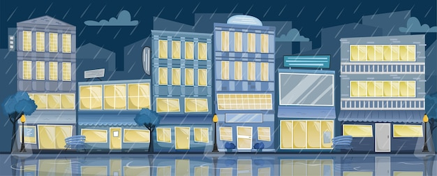 Nocny deszczowy krajobraz miasta. ulica z jasnymi domami, szyldami, drzewami i ławkami.