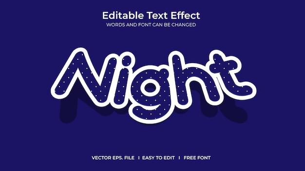 Nocny ilustrator edytowalny projekt szablonu efektu tekstowego