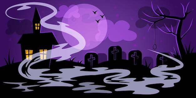 Nocny krajobraz cmentarza na halloween w fioletowym strasznym drzewie szubienicy sękaty dom