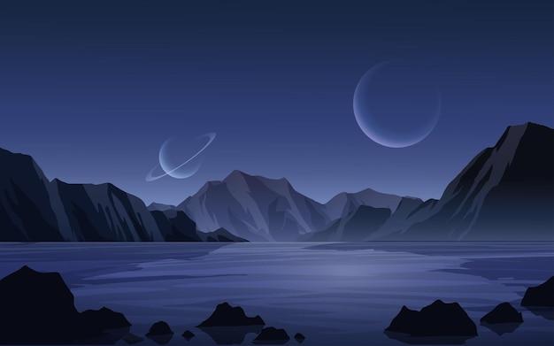 Nocny krajobraz fantasy z księżycem i saturnem