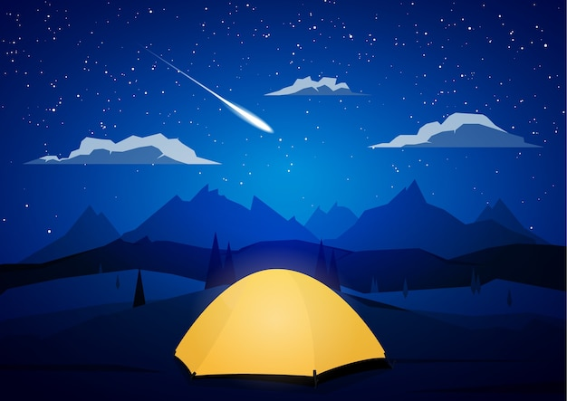 Nocny krajobraz gór z namiotami i meteor.