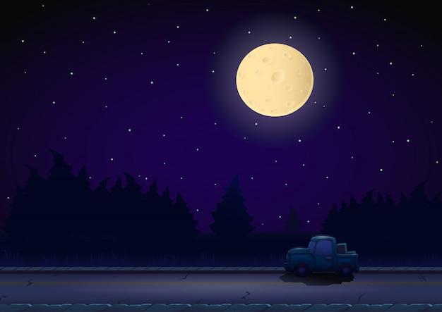 Nocny krajobraz kreskówka