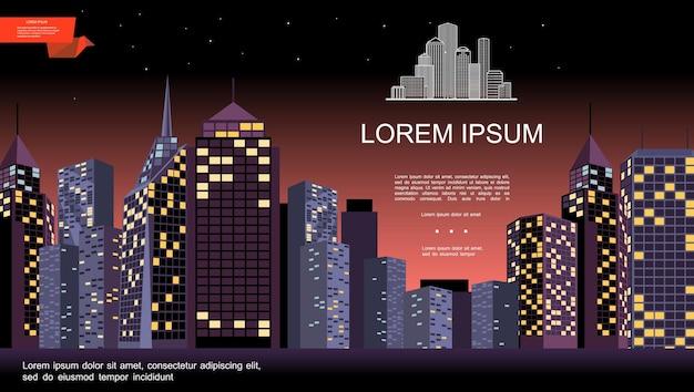 Nocny krajobraz miasta z nowoczesnymi budynkami i drapaczami chmur na płaskiej ilustracji