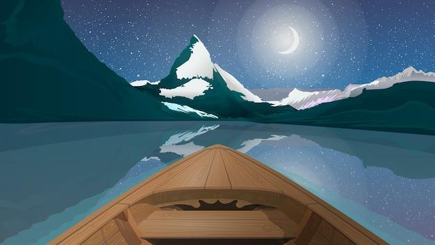 Nocny krajobraz poziomy z łodzią na jeziorze