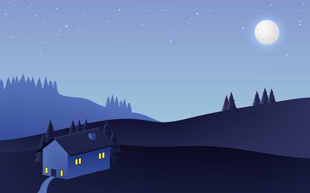 Nocny krajobraz przy pełni księżyca