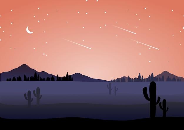 Nocny krajobraz pustyni w płaskiej konstrukcji