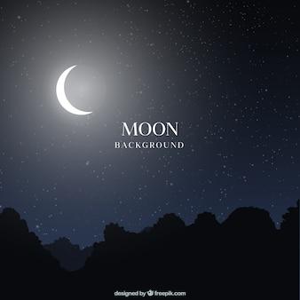 Nocny krajobraz tła z księżyca