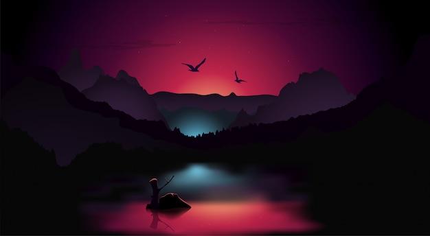 Nocny krajobraz tła