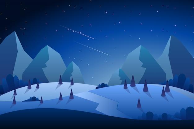 Nocny krajobraz z ilustracja błękitne niebo
