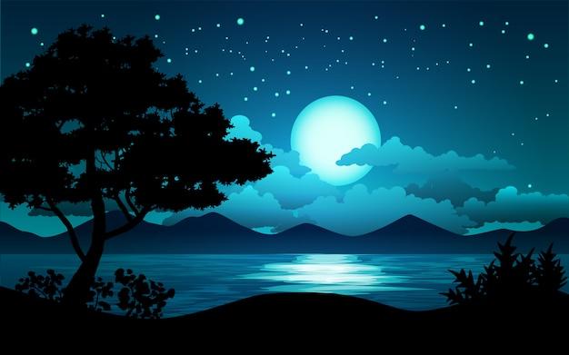 Nocny krajobraz z jeziorem i drzewem