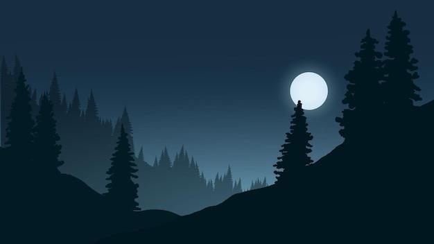 Nocny krajobraz z lasem i blaskiem księżyca