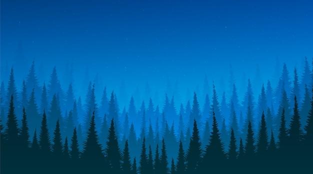 Nocny krajobraz z lasem sosnowym i gwiazdą, wolne miejsce na tekst, wektor