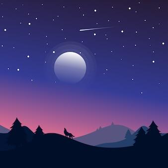Nocny krajobraz z sylwetkami wzgórz, wilka, lasu i pięknego nocnego nieba z gwiazdami i księżycem.