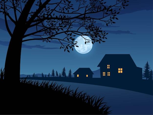 Nocny krajobraz z ulicą i domami