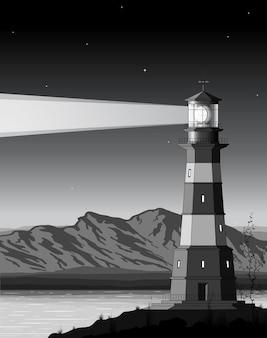 Nocny krajobraz ze szczegółową latarnią morską, górami i morzem