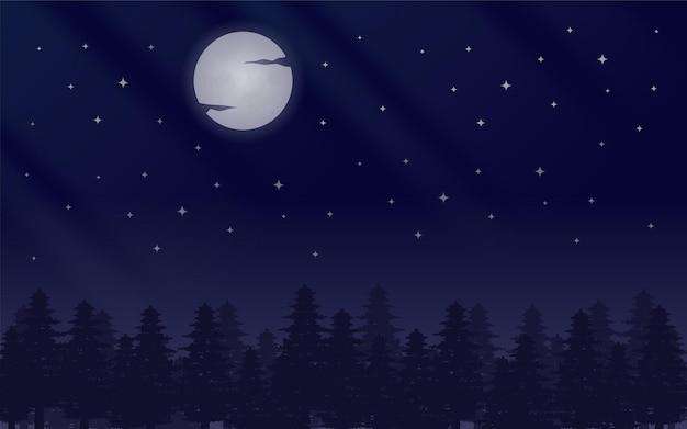 Nocny księżyc w tle z gwiazdami i drzewami sosnowymi