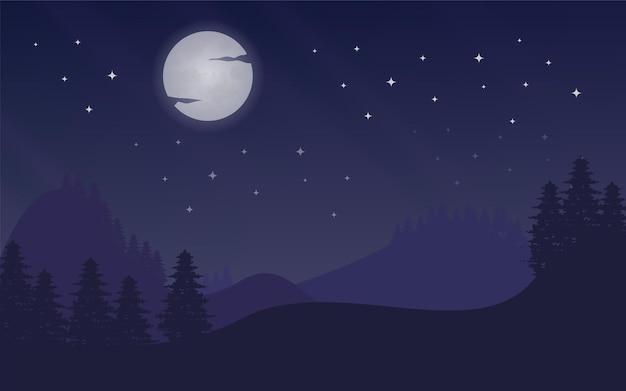 Nocny księżyc w tle z gwiazdami i górą