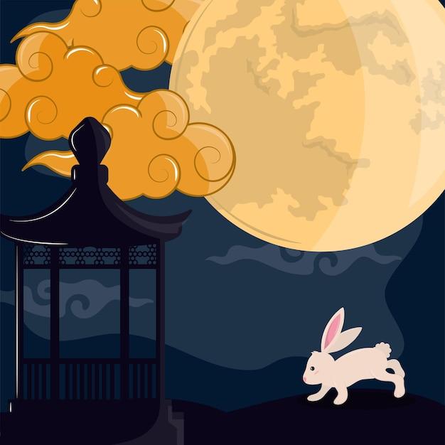 Nocny księżyc z królikiem