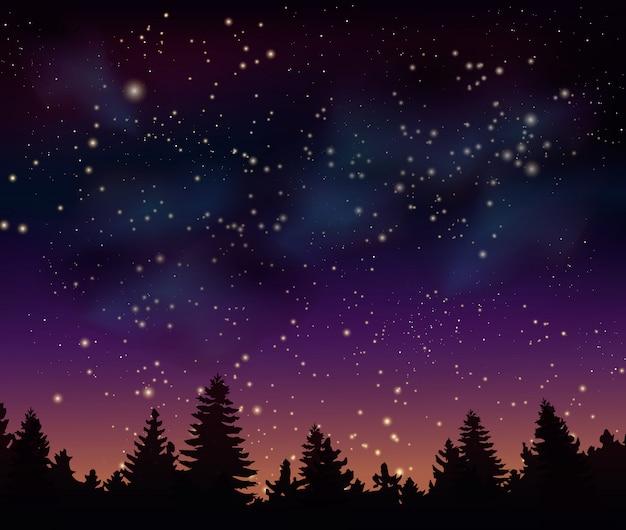 Nocny las pod mistycznym wszechświatem kosmicznym