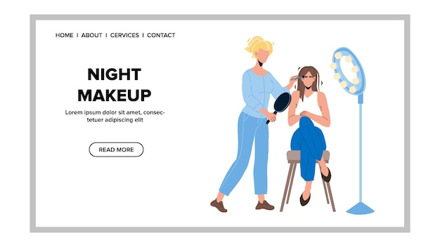 Nocny makijaż dokonywanie dziewczyna w salonie piękności wektor. młoda kobieta coraz makijaż twarzy od artysty kosmetolog, leczenie kosmetologii, procedura pielęgnacji skóry. postacie w sieci web płaskie ilustracja kreskówka