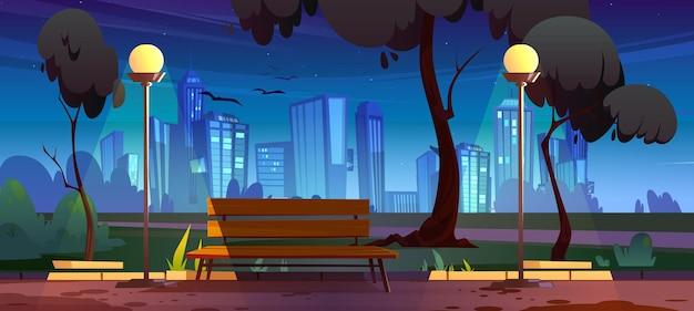 Nocny park miejski z widokiem na letnią scenerię ławki ze świecącymi lampami ulicznymi i pejzażem miejskim